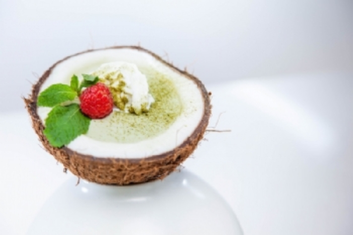 Raspberry Matcha Pudding in a Coconut Bowl